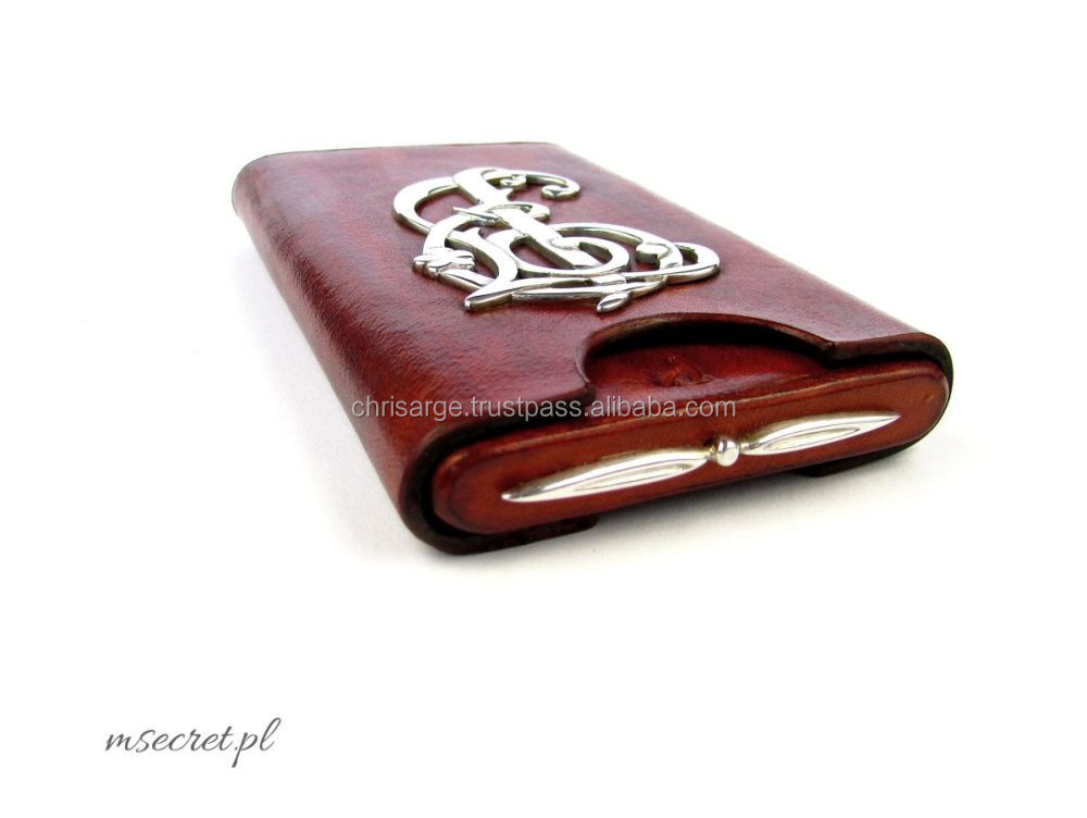 Hand-made luxury leather cigarette cigar case etui cardholder wallet