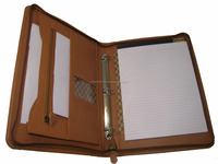 A4 leather conference folder/ Leather Zipped presentation Folder with NotePad