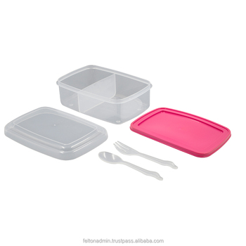 Felton BPA Free Plastic Lunch Box Airtight Food Container with Cutlery Set