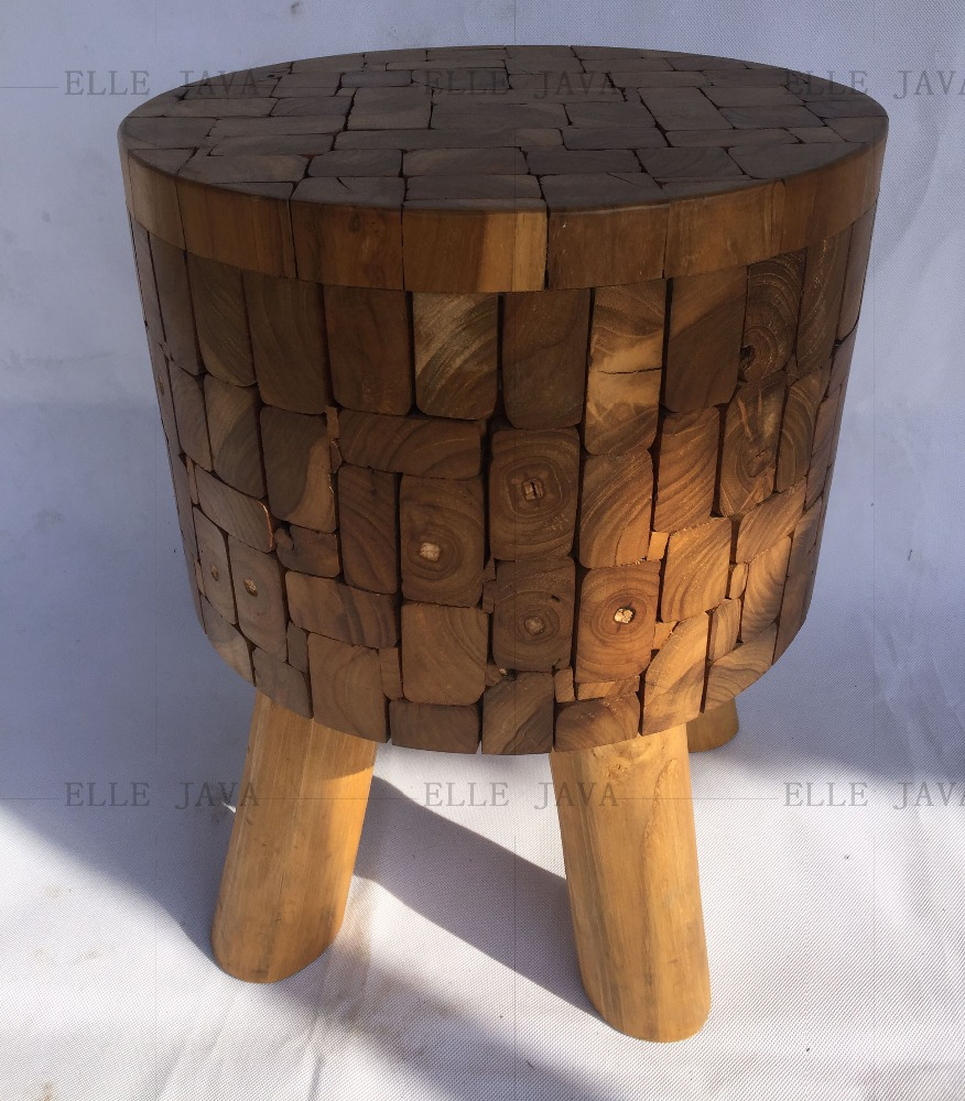 Eco-Friendly Teak Root Furniture Stool 3 leg round stool 43x43cm