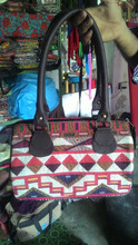 Beautiful multicolor cotton dhurrie vintage banjara leather bag