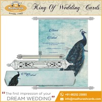 Beautifully Design Royal Blue Scroll Wedding Invitation Cards
