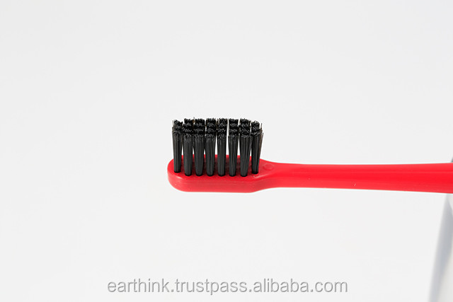 whitening tooth charcoal powder/red color Whitening Binchotan charcoal toothbrush [Made in Japan]