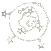 Kid Silver Anklet With Stars, Silver Design Anklet