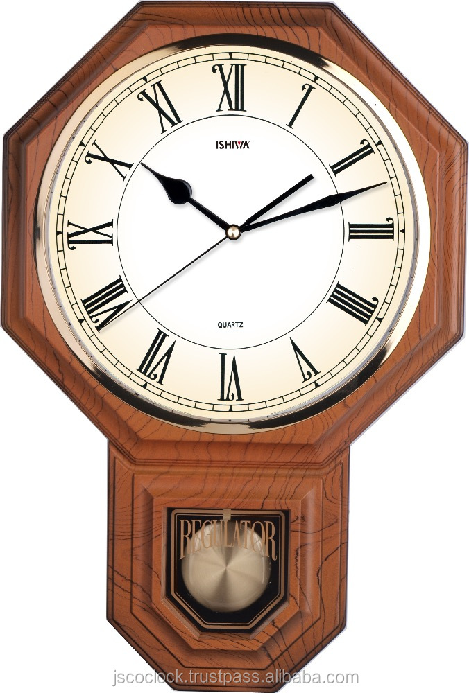 Traditional Octagonal Vintage Westminster Chiming Pendulum Wall Clock (Wooden Grained) - PP0258
