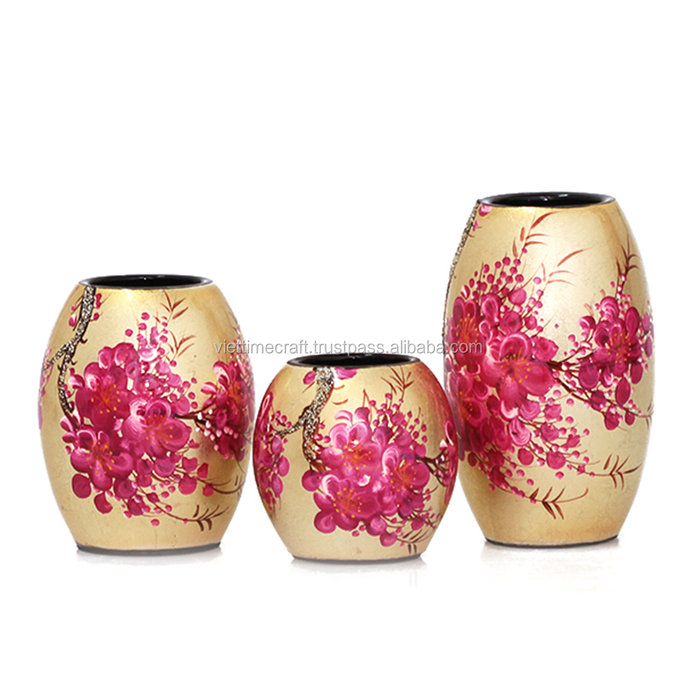 Lacquer vase with various colors, flower pattern, made in Vietnam