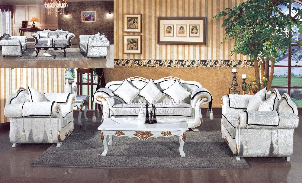 European style solid wood carving antique sofa set design