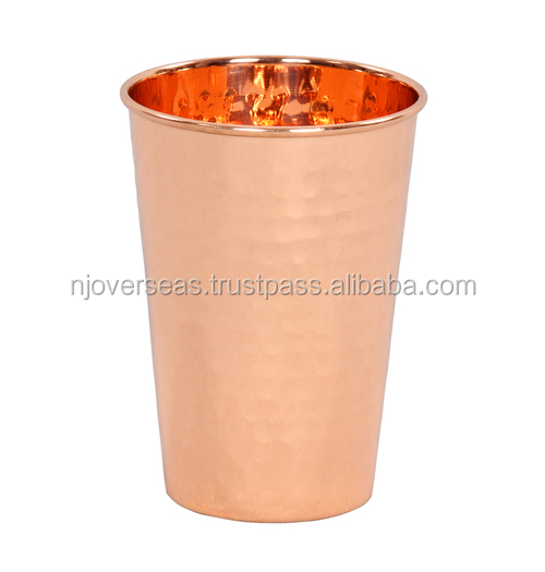 Pure Copper Hammered Tumbler Glass Drink ware Bar and Kitchen Accessory
