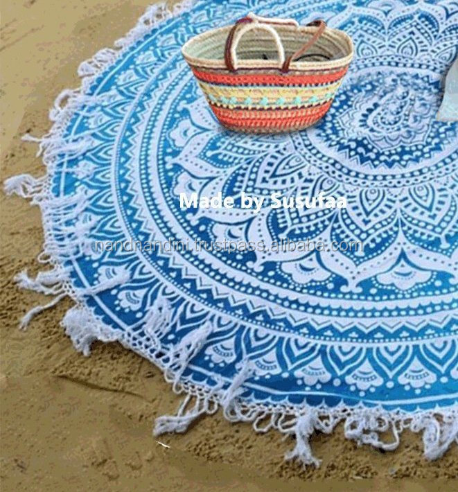 "Indian 100 % cotton 50"" Inches round yoga mats mandala tapestry bohemian Gyppy bedspread blanket"