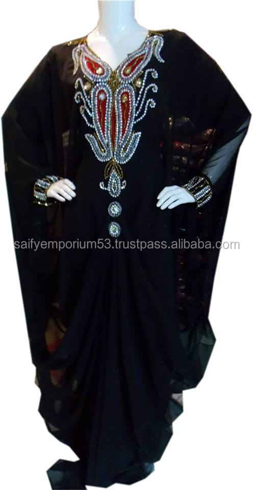 Unique Style Farasha Kaftan Dubai Black Color With Stone Silver And Red Hand Embroidery Vrey Beautifull Dress