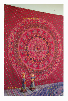Indian Elephant Mandala Dorm Tapestry Hippie Wall Hanging Throw Cotton Bedspread Yoga Rajasthan Jaipur