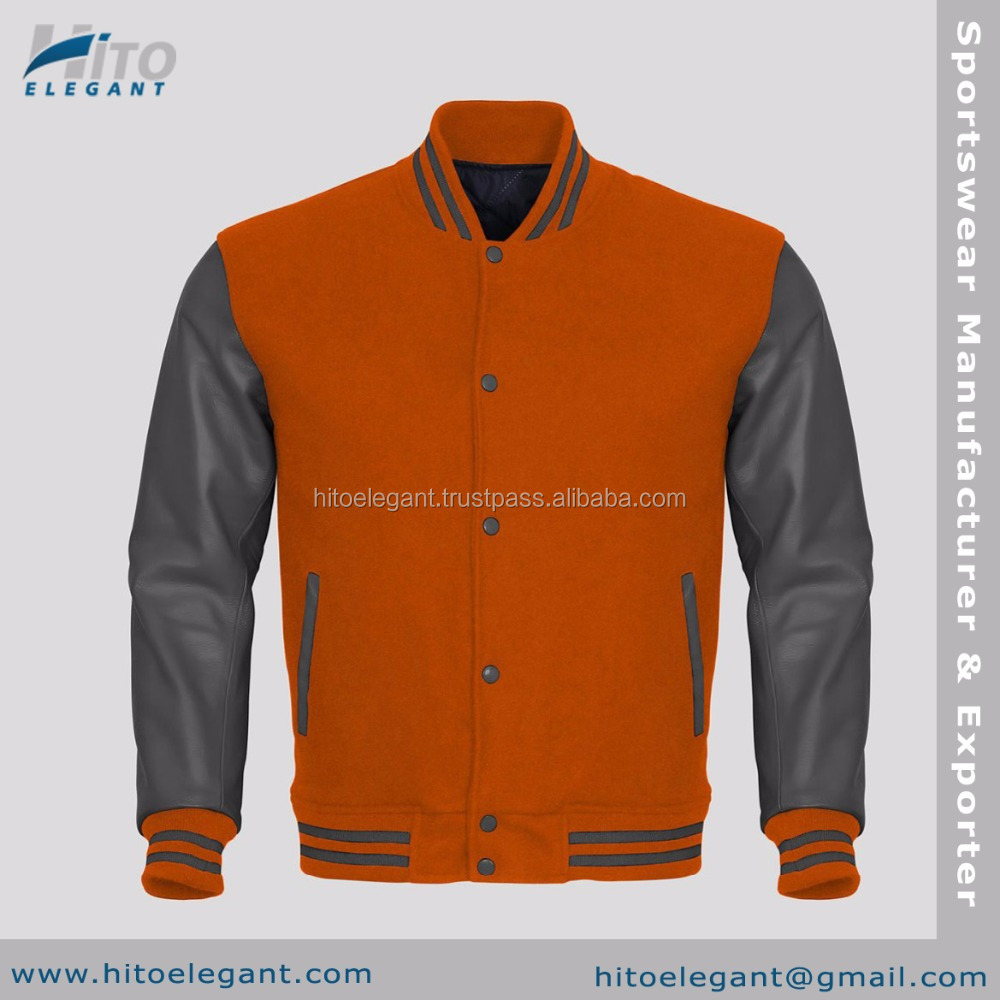 Gray Faux Leather Sleeves Orange Wool Varsity 2016 Stylish Faux Suede Bomber Jacket For Men Winter Clothes Wholesale HE-FVJ-2158