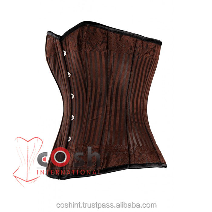 Steam Punk Cosets, Brown And black Burlesque Strip Brocade Corset, Corset