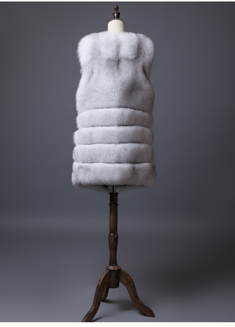 Finland Long Silver Fox Fur Vest Coat Women