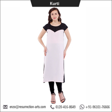 Latest Design of Long Straight Round Neck Kurti for Women
