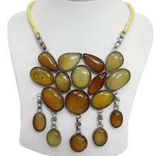Honey Amber Stone Silver Tone Brass Metal Women Party Wear Necklace Fashion Jewelry India Gift ANS1903