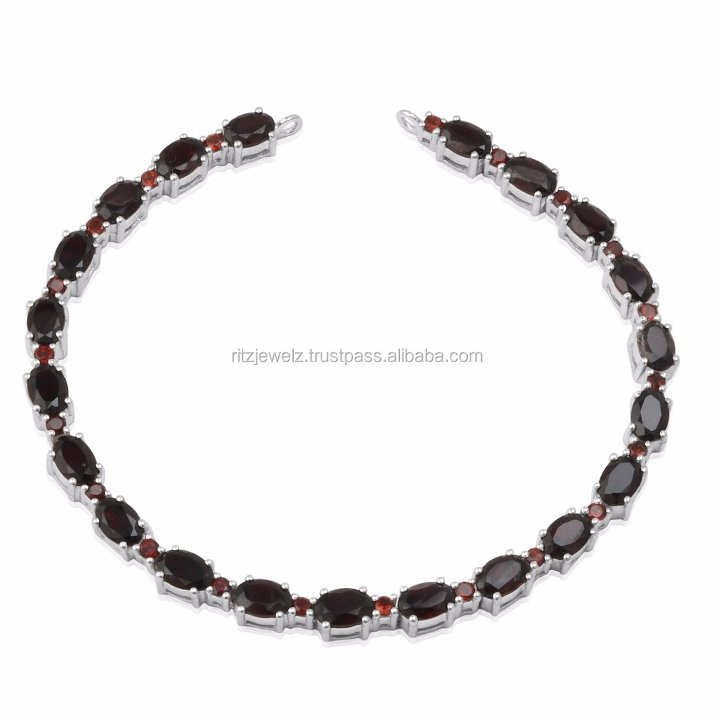 10.29 Cts Garnet Tennis Bracelet For Women