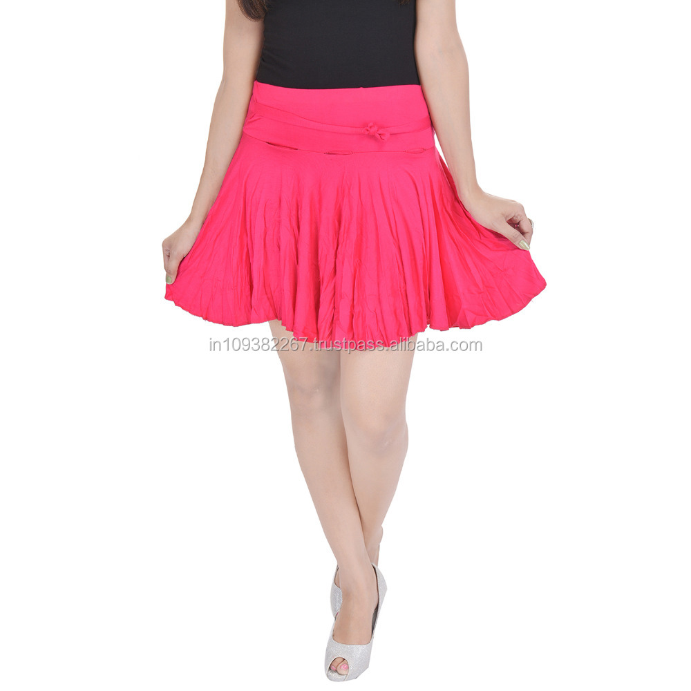 Girls sexy short mini pleated skirt with divider and elastic waist band