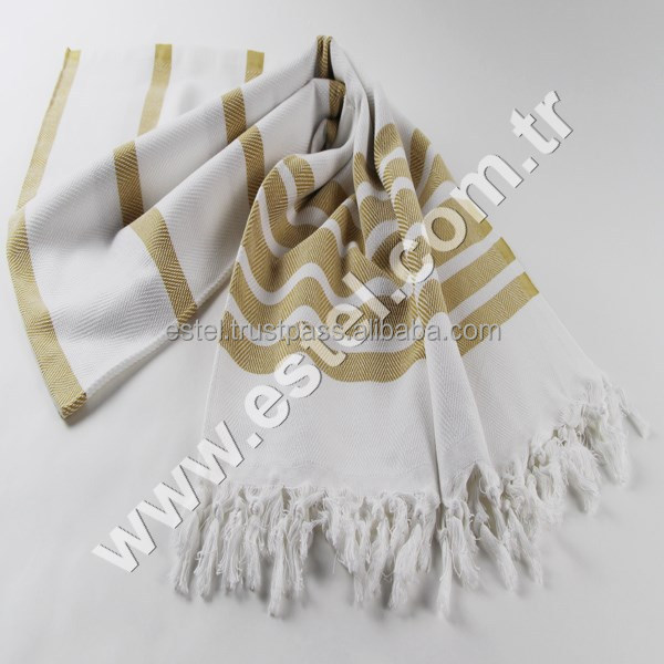 Mustard Chevron Design Handmade Peshtemal Towel (Turkish Hammam Towel) Spa ,Beach ,Gym Towel Comfortable , Organic Cotton