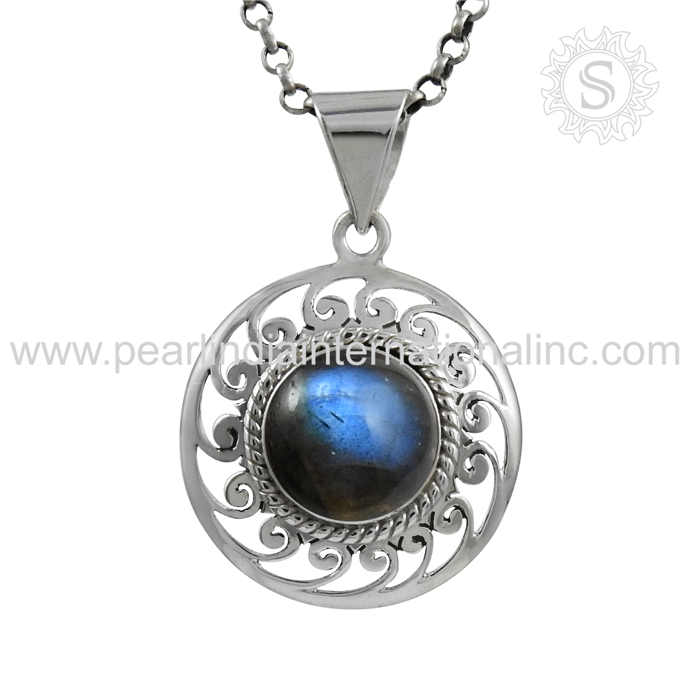 Glowing Blue Labradorite Jewelry Gemstone Pendant Handmade Silver Pendants Wholesaler Silver Pendants India