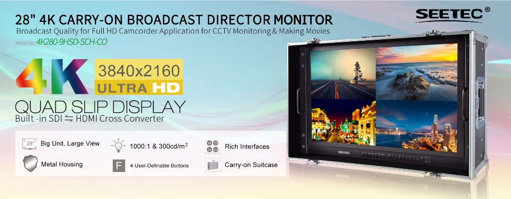 SEETEC 28'' 3G-SDI 4k resolution monitor ultra hd 3840 x 2160