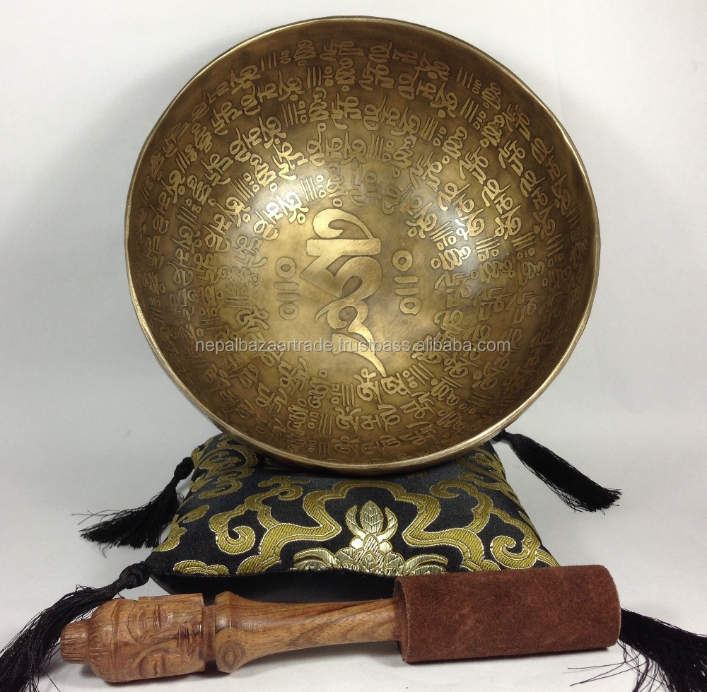 Tibetan Prayer Mantra Carving 7 metal Handmade Singing Bowl