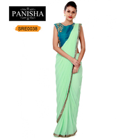 Pista Green Pre Stitched Saree With Embroidered Blouse