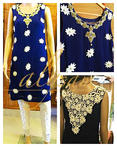 Navy Blue Fusion top with applique