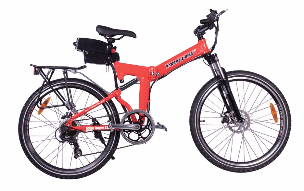 Buy 3 Get 2 Free NEW!! 2015 X-Treme X-Cursion Folding Electric Bike - Lithium Powered - Red