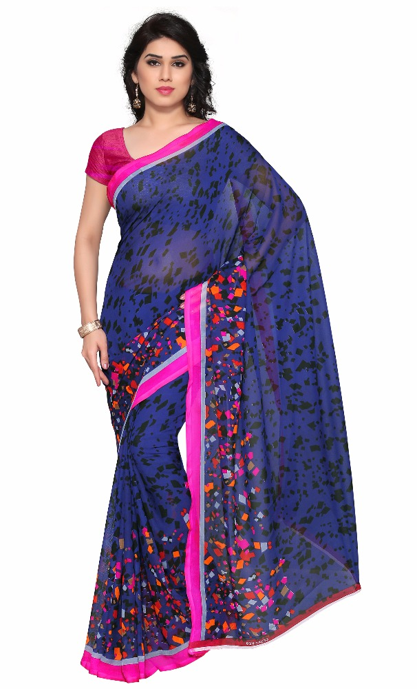 Scenic Blue Colored Faux Georgette Printed Casual Wear Saree