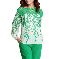 women top with leaf design high quality shirts, Fashionable- Chiffon-font-b-Green-b-font-font-b-Floral-b-font-font-b-Leaves2015