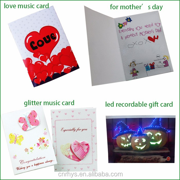 customized recordable gift card printed, gift sound wedding cards