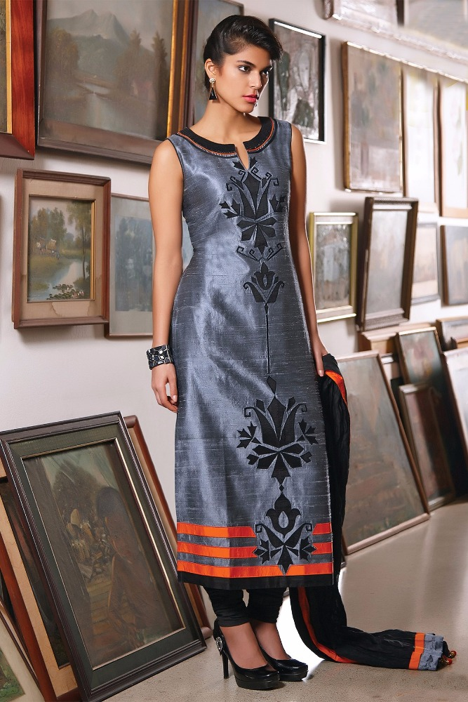 Grey multicoloured raw silk charming kameez with patch work & high neck