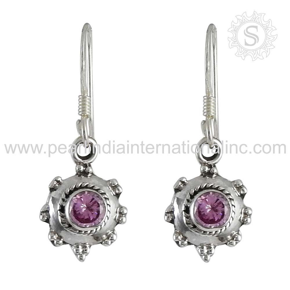 spectacular pink cz 925 silver earring gemstone silver jewellery sterling silver jewelry online