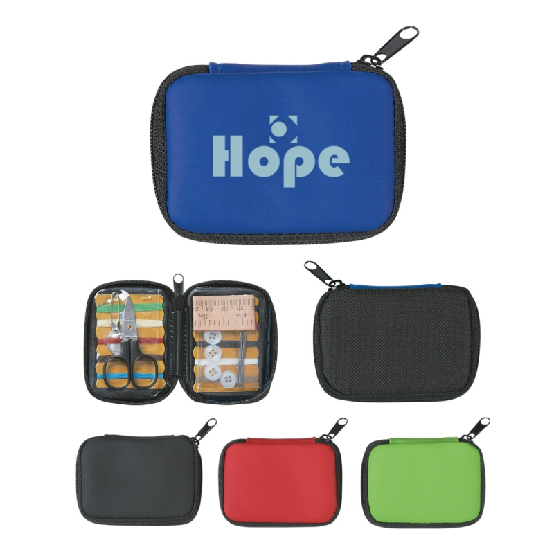 """Sew"" Handy Deluxe Sewing Kit - features a compact case with zipper closure and comes with your logo"
