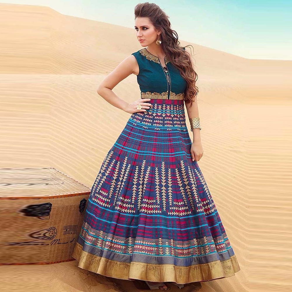Surat tex Turquoise Colored Banglori Silk & Digital Printed Party Ware Semi-Stitched Gown-BG1118.