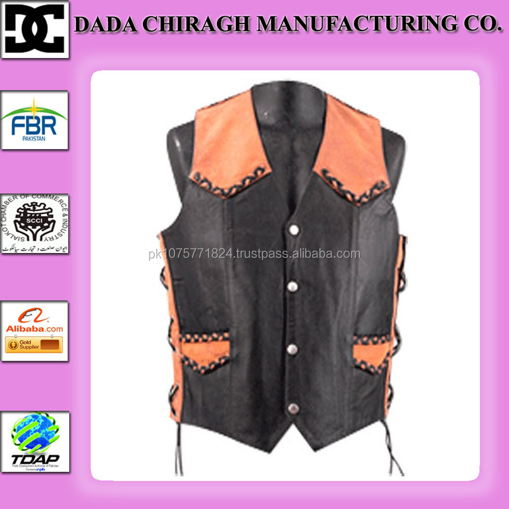 leather outdoor padding vest/waistcoats