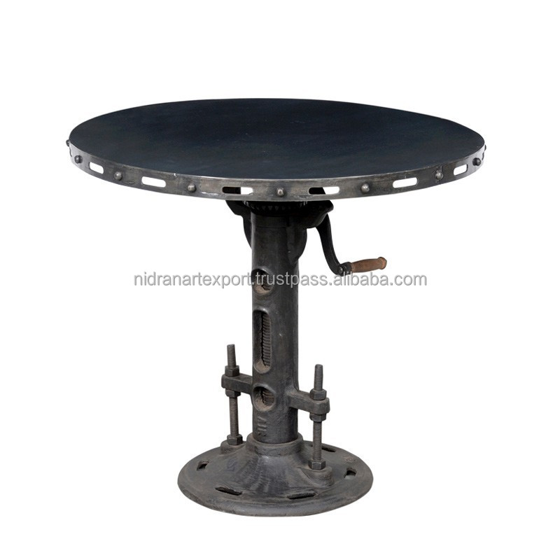 INDUSTRIAL CAST IRON ADJUSTABLE HEIGHT ROUND TOP COFFEE TABLE
