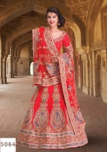 Raw Silk Fabric Red Color Lehenga Gota And Gold Zardosi Work