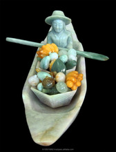 THAI RIVER MERCHANT SELLS FRUITS 4 HOME DECOR/COLLECTIBLE: HAND-CARVED NATURAL JADE: