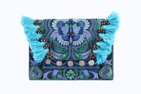 Hmong Bird Embroidered Clutch Bag with Hairs and Coins - Blue