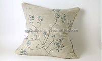 Rose/ Lotus Embroidered Linen Cushion Cover 45*45cm/Fancy Design Popular /Fancy/Pure white cushan covar.
