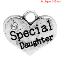 "Charm Pendants ""Special Daughter"" Heart Antique Silver Clear Rhinestone 16x14mm,Hole:Approx 2.7x3mm,20PCs"