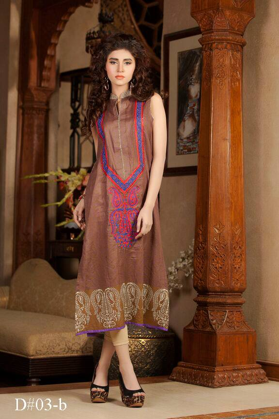 Brick colored long Pakistani embroidered kurti Batik design no. 03-B /designer kurta and anarkali kurtis