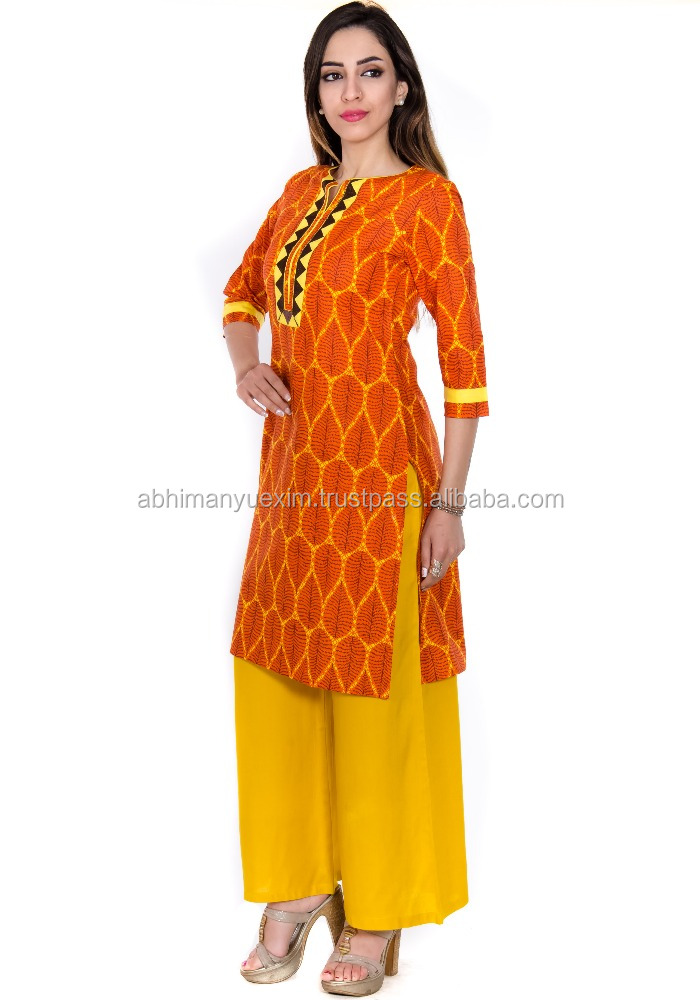 ladies kurta design Cotton blend embroidered 3/4 sleeve kurta