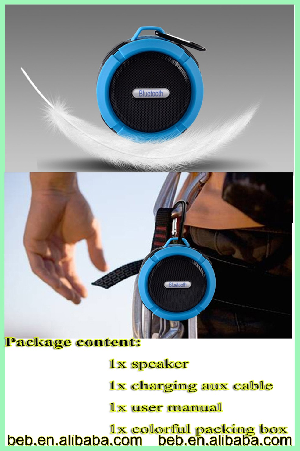 CE ROHS FCC approved waterproof bluetooth speaker for android apple ios cellphone speaker
