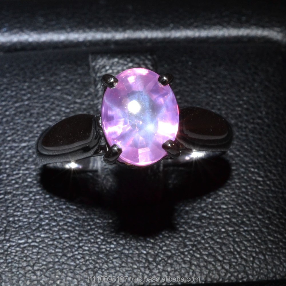 7x9 MM Pink Star Sapphire Ring Lab-Created Sterling Silver 92.5 Size 6.75