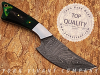 Hunting Knife, Custom Handmade Damascus Steel Fixed Blade Knife YV-526A Buffalo Horn + Pakka Wood + Stainless Steel Handle