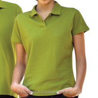 100% Cotton Ladies Short Sleeve Pique Polo Shirts