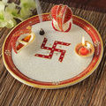 Marble Pooja Thali Plate Handicraft Religious Gift Decor Rich Art And Craft Gallery Hindu God Puja Ganesha India